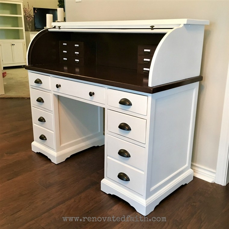 Rolltop Desk with Stained Top