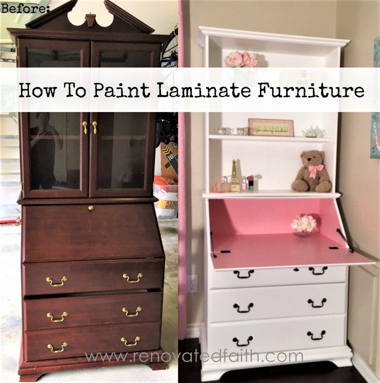 How To Paint Laminate Furniture - Before and After