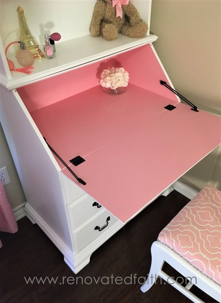 White and Pink Secretary Desk